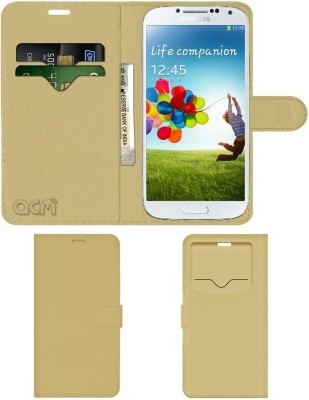 ACM Flip Cover for Samsung Galaxy S4 I9500(Gold, Cases with Holder)