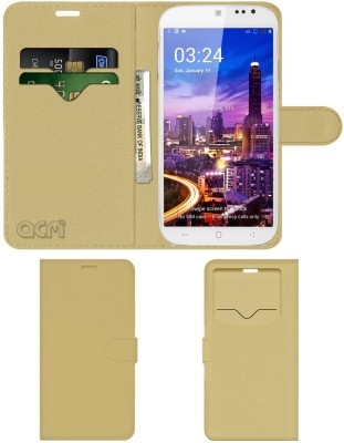 ACM Flip Cover for Domo Ntice Quad 1(Golden, Cases with Holder, Artificial Leather)