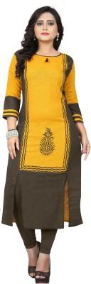 Vbuyz Women Printed Frontslit Kurta(Yellow)