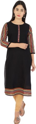 La Firangi Women Striped, Printed Straight Kurta(Multicolor)