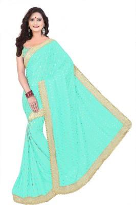 Effigy Onlinehub Self Design Bollywood Lycra Blend Saree Light Blue