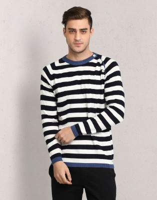 Metronaut Striped Round Neck Casual Men Multicolor Sweater