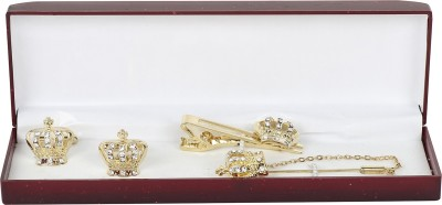 Paranoid Brass Cufflink & Tie Pin Set(Gold)