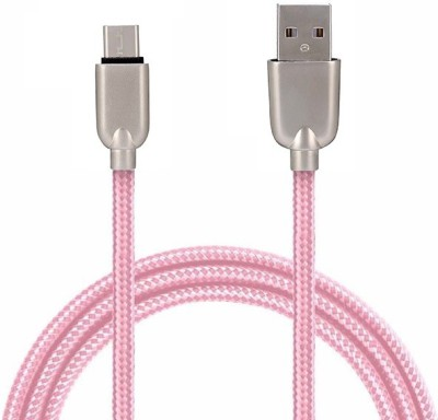 Gadget Bucket Mesh Plastic Rubber Covered Pink Micro USB Cable(Mobile, Pink, Sync and Charge Cable)