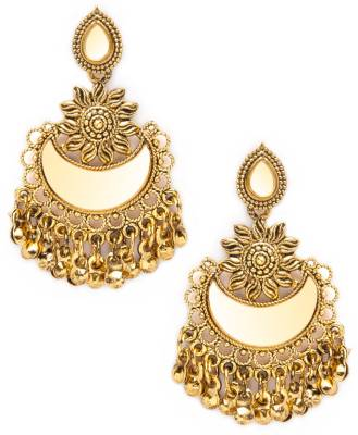 Rubans Rubans Antique Gold Toned Traditional Mirror Chandbali Earrings For Women Metal Chandbali Earring