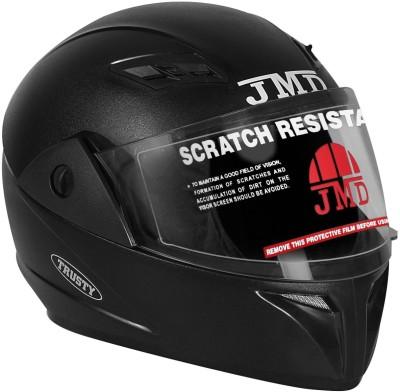 JMD Trusty Natural Black Motorbike Helmet(Black)