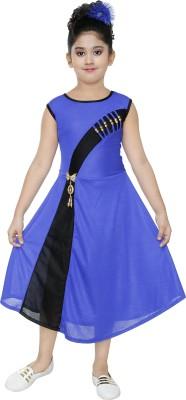 VASTRA FAB Girls Midi/Knee Length Party Dress(Blue, Sleeveless)