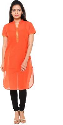 Cross Colors Women Textured Straight Kurta(Orange)