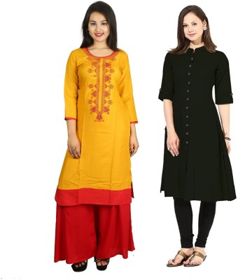 AAVRI Casual Solid, Embroidered Women