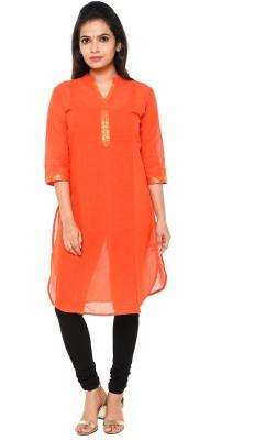 Cross Colors Casual Textured Women Kurti(Orange)