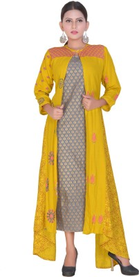FABFOREVER Festive & Party Floral Print, Colorblock, Printed Women Kurti(Pack of 2, Yellow)