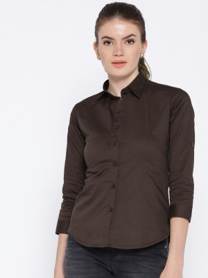 Purple Feather Women Solid Formal Brown Shirt