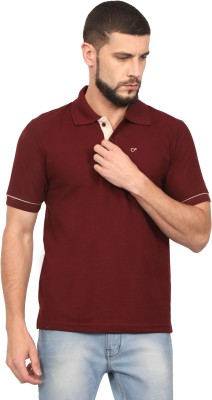McHenry Solid Men Polo Neck Maroon T-Shirt