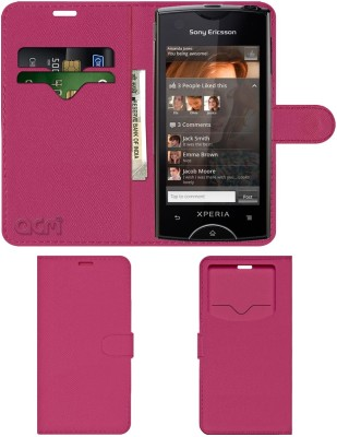 ACM Flip Cover for Sony Ericsson Xperia Ray St18i(Pink, Cases with Holder, Artificial Leather)