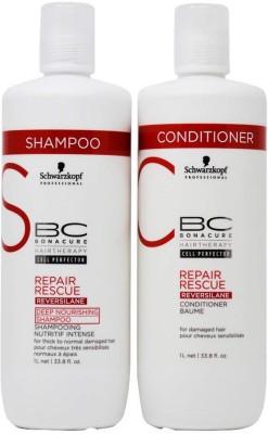 Schwarzkopf Bonacure Repair Rescue Shampoo and Conditioner One Liter(Set of 2)