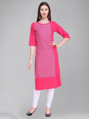 Divastri Women Polka Print Straight Kurta(Pink)