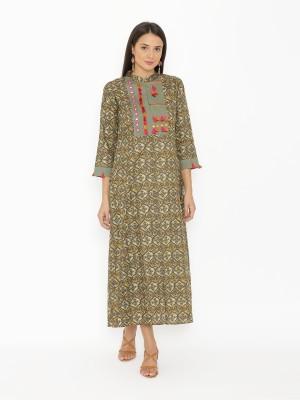 KINISHA Women Printed Anarkali Kurta(Green)