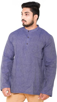 Cross Colors Men's Self Design Straight Kurta(Blue)