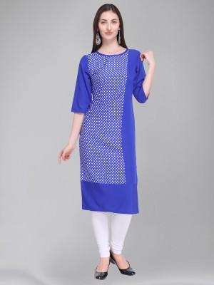 Divastri Women Polka Print Straight Kurta(Blue, White)