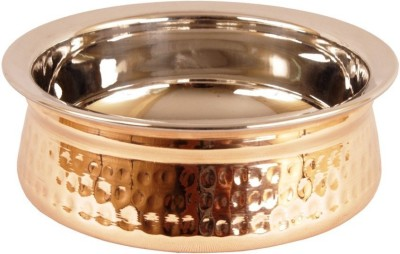 IndianArtVilla 2.2  X 5.8  X 2.1  Handmade High Quality Stainless Steel Copper Dish Serving Indian Food Daal Curry Handi Bowl Handi 0.5 L with Lid