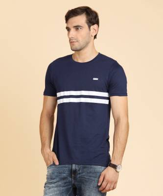 French Connection Striped Men's Round Neck Blue T-Shirt