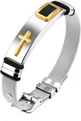Yellow Chimes Stainless Steel Rhodium Bracelet at flipkart