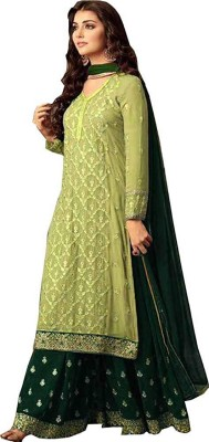 Viha Georgette Embroidered Semi-stitched Salwar Suit Dupatta Material(Semi Stitched)