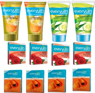EVERYUTH NATURALS 2 GOLDEN GLOW PEEL OFF MASK 50GM+2 CUCUMBER & ALOEVERA FACE PACK 50GM+4 PAPAYA FACE PACK 25GM+4 ROSE FACE PACK 25GM(50 g)