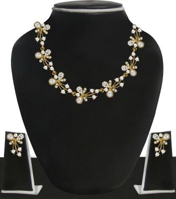 Zaveri Pearls Zinc Jewel Set(White, Gold)