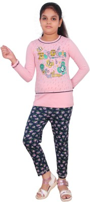 POPO-G Kids Nightwear Girls Printed Cotton Blend(Pink Pack of 2)