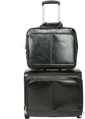 PRAGEE Exclusive Black PU Leather Office Laptop Trolley Bag Expandable Cabin Luggage   20 inch Black
