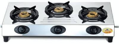 Bajaj CX9 Stainless Steel Manual Gas Stove(3 Burners)