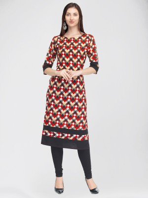 Divastri Women Printed Straight Kurta(Red, Black)