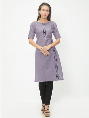 Divastri Women Solid Straight Kurta(Grey)