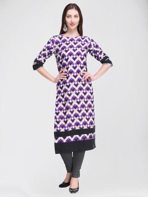 Divastri Women Printed Straight Kurta(Purple, Black)