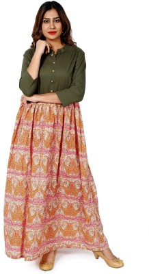 Handicraft-Palace Festive & Party Checkered Women Kurti(Green, Pink)