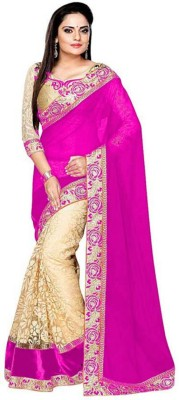 SNH Export Self Design, Embroidered Bollywood Georgette Saree(Pink)