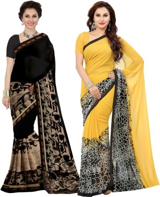 Ishin Printed Bollywood Faux Georgette Saree(Pack of 2, Black, Yellow) Flipkart
