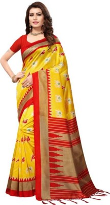 HashTag Fashion Graphic Print Fashion Cotton, Cotton Silk Saree(Yellow, Red) Flipkart