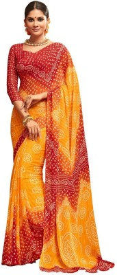 AJS Printed, Dyed Bandhani Chiffon Saree(Orange, Red) Flipkart