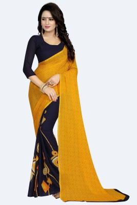 KSH Trendz Graphic Print Fashion Faux Georgette Saree(Yellow, Black) Flipkart