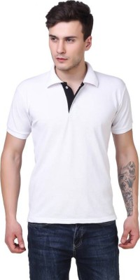 IRONGRIT Solid Men Polo Neck White T-Shirt