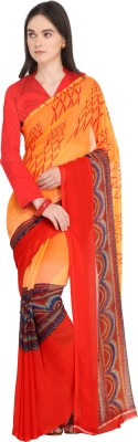Ligalz Printed Fashion Chiffon Saree(Orange, Red) Flipkart