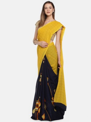 Saree Swarg Printed Daily Wear Faux Georgette Saree(Yellow, Black) Flipkart