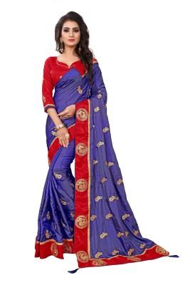 Kuki Embroidered Fashion Georgette, Cotton, Silk Saree(Blue, Red) Flipkart