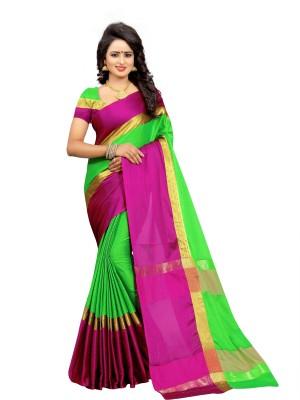 B BELLA CREATION Solid Arani Pattu Silk Cotton Blend Saree(Green, Pink)