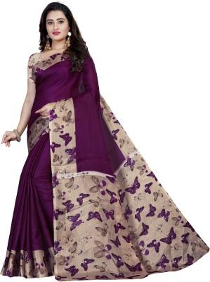 Vimalnath Synthetics Printed Kalamkari Cotton Blend Saree(Purple)
