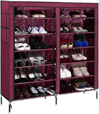 Online World 12 Layers Quality Shoe-rack Dustproof & Non Woven Cloth (Multi-color) Metal Shoe Stand(Purple, 12 Shelves)