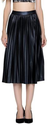 London Rag Solid Women Pleated Black Skirt