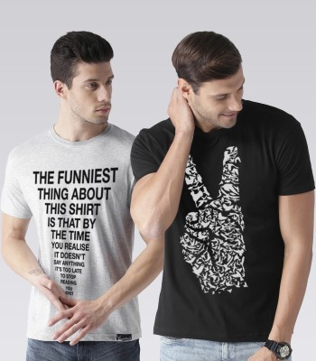 Young Trendz Typography Men Round or Crew Multicolor T-Shirt